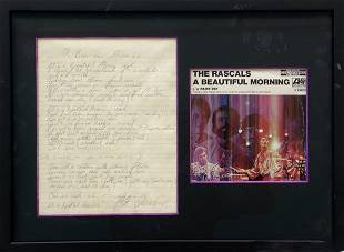 The Rascals, Signed Lyrics By Felix Calaliere, Framed