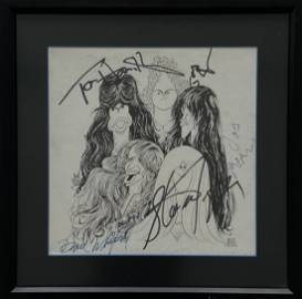 "Al Hirschfeld ""Aerosmith"" Hand Signed By The Band"