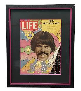 Signed Peter Max TIME Magazine Cover, Framed