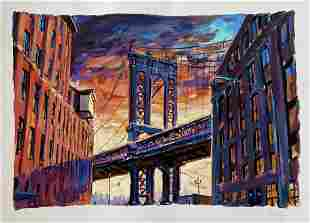 Bob Dylan, Manhattan Bridge, Signed Artwork COA