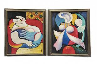 Pair Of Modern Cubist Paintings, Signed