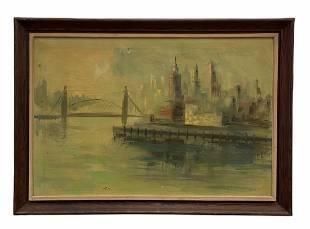View Of Lower Manhattan, New York City, Signed