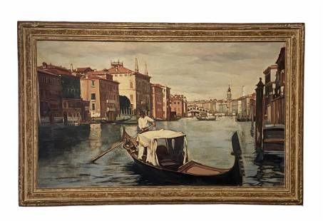 Early 20th Century Venetian Canal Scene, Signed