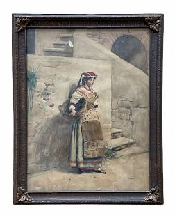 19th Century Italian Watercolor Of A Woman, Signed