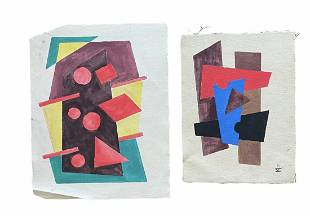 Pair Of Constructivism Abstracts On Cut Canvas