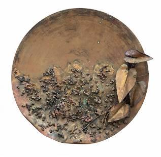 Modernist Decorative Copper Charger, Signed