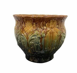 Vintage Majolica Glazed Ceramic Planter