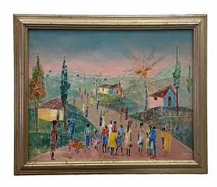 Modernist Haitian Village Scene, Signed