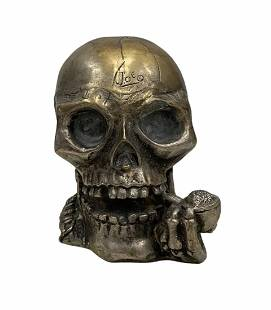 Artist Signed Metal Skull With Bandolier Smoking A Pipe