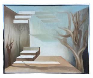 1980\'s Surrealist Landscape Signed Mitchell