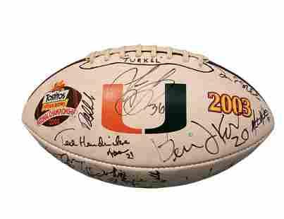 2003 Miami Hurricanes Fiesta Bowl Signed Football