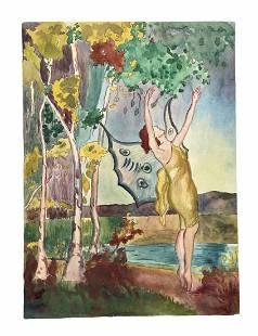 1920's Art Nouveau Illustration, Fantasy Scene