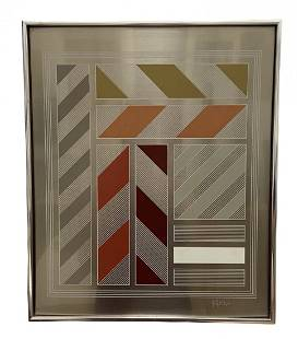 Greg Copeland Mirrored MCM Geometric Abstract, Signed
