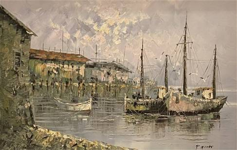 Large Italian Harbor Scene, Illegible Signature