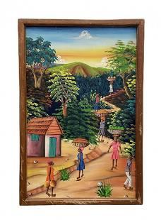 Vintage Haitian Village Scene Painting Signed Emilio