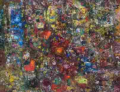 Cuban Abstract Painting w/ Hearts, Illegible Signature