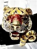 18K gold Mode Le Depose Enameled Tiger ring.