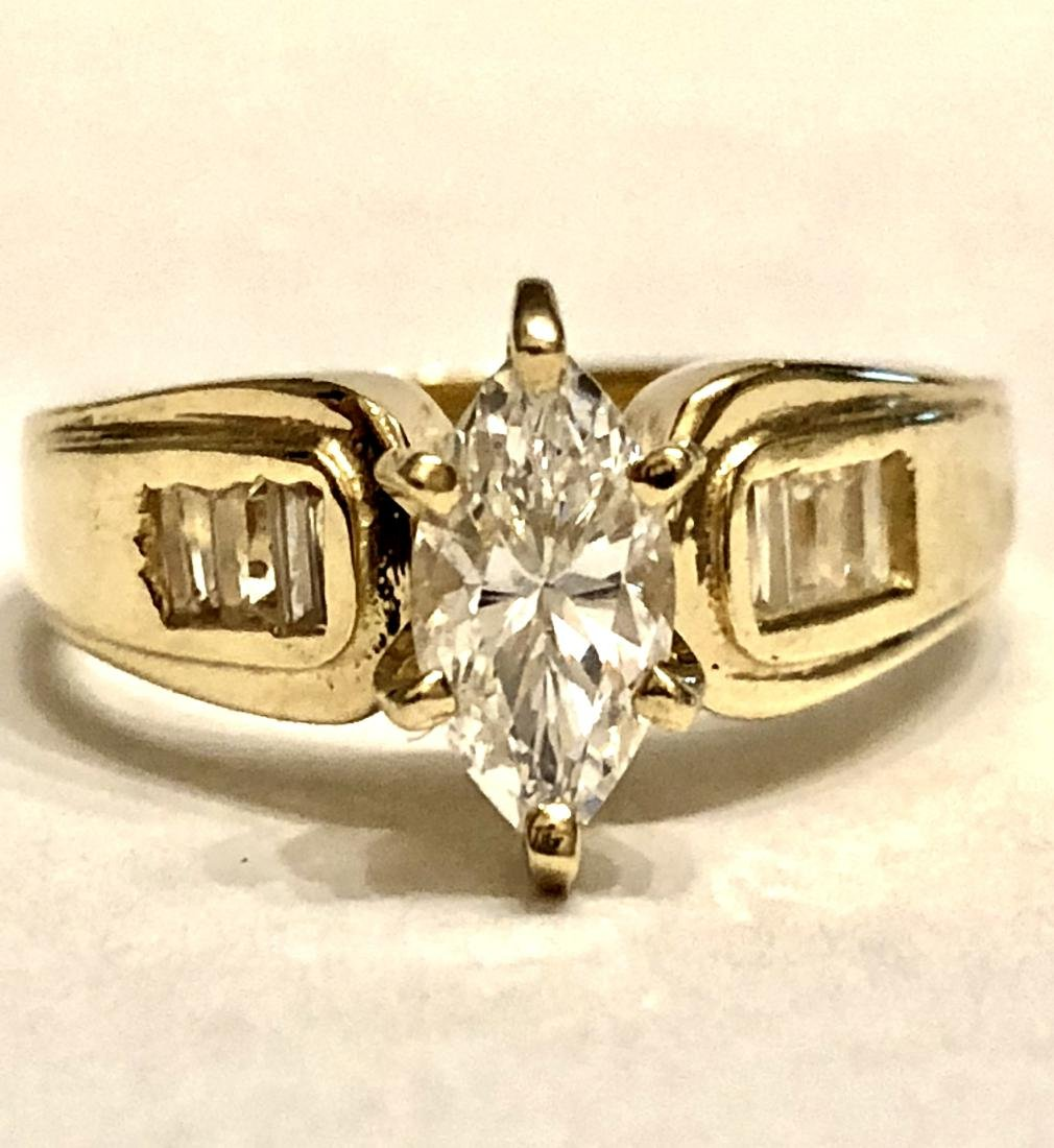 14k gold 1.0 TCW BRILLIANT CZ STONE RING.