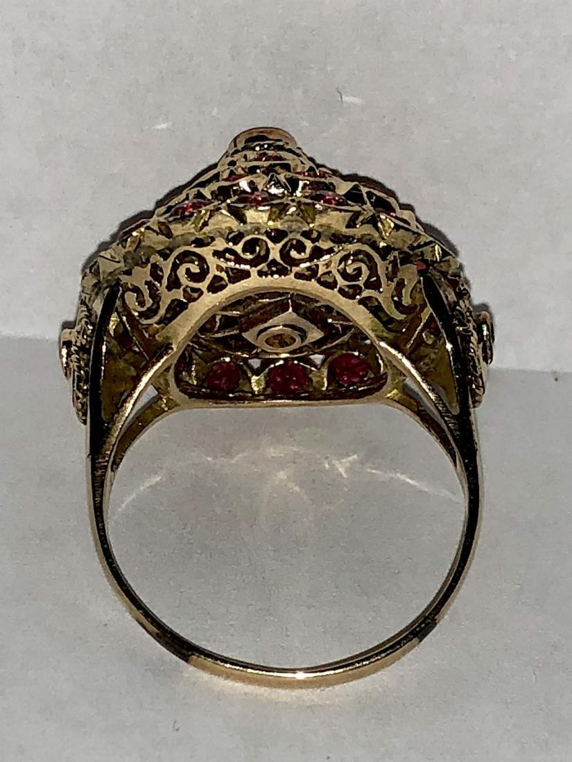 14K gold 3.0 TCW ruby harem ring. - 4