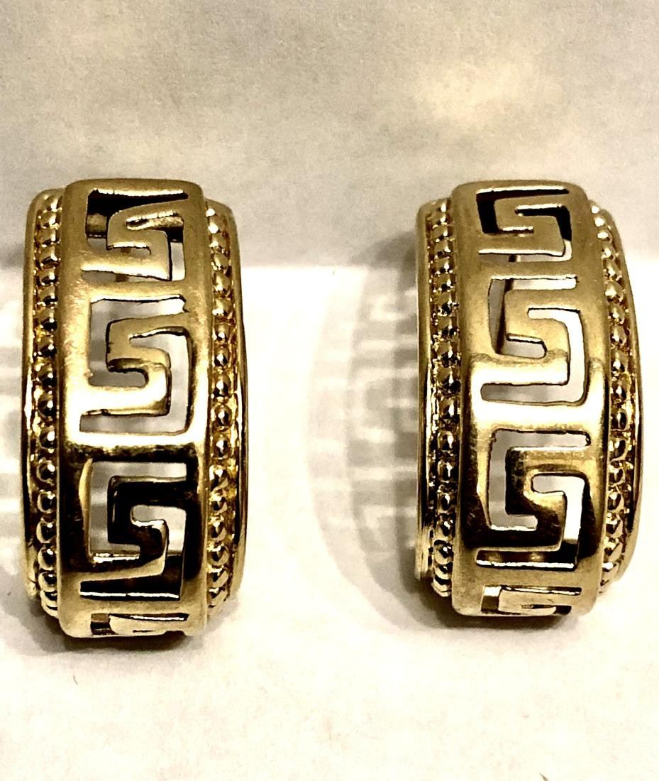 VERSACE DESIGN 14K GOLD EARRINGS.