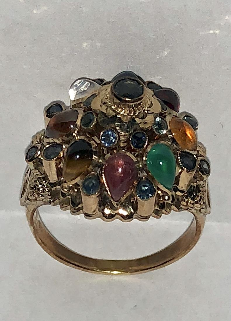 14K gold 1.25 TCW multi-gemstone globe ring.