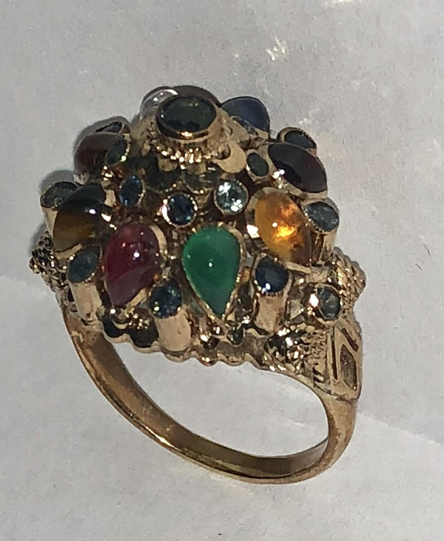 14K gold 1.25 TCW multi-gemstone globe ring. - 2