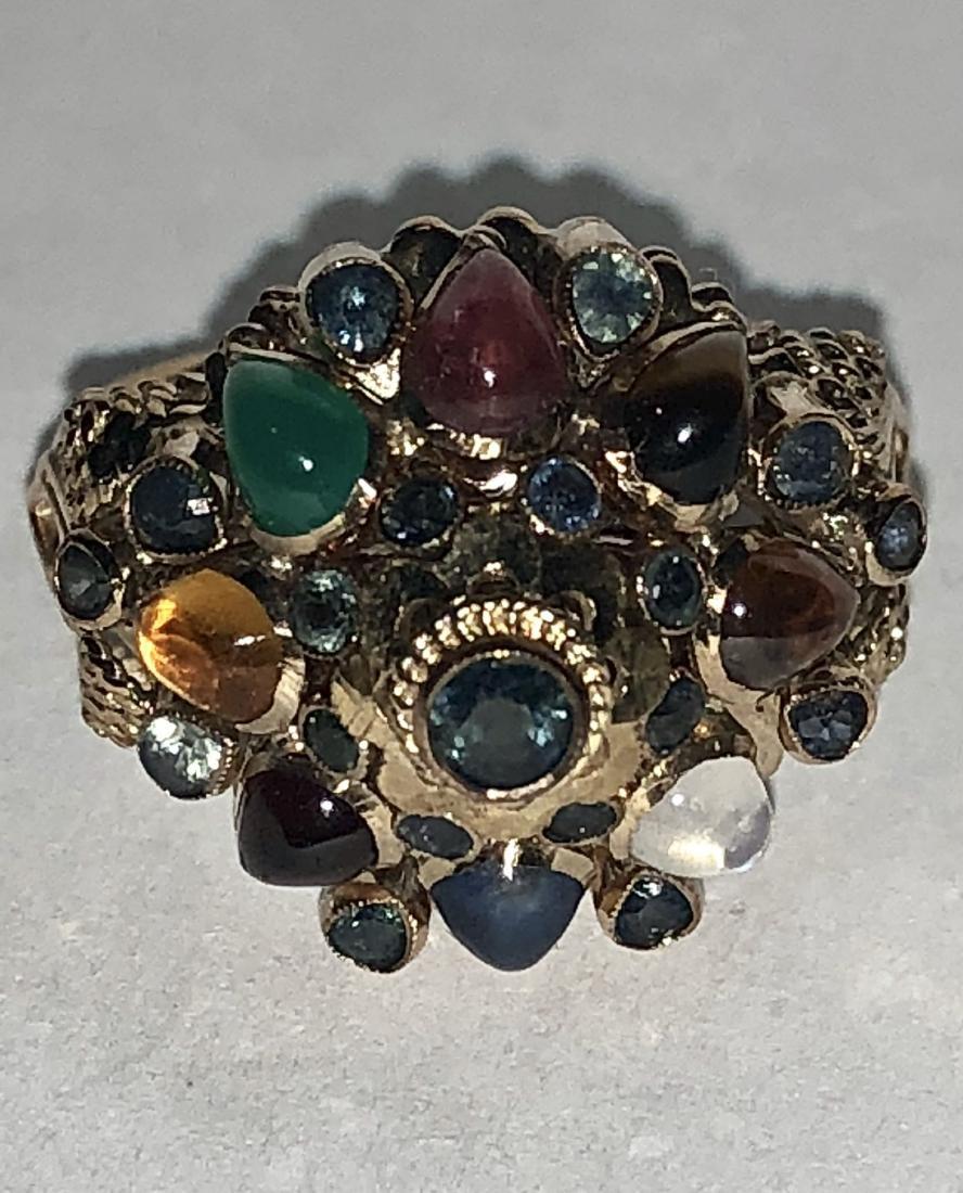 14K gold 1.25 TCW multi-gemstone globe ring. - 3