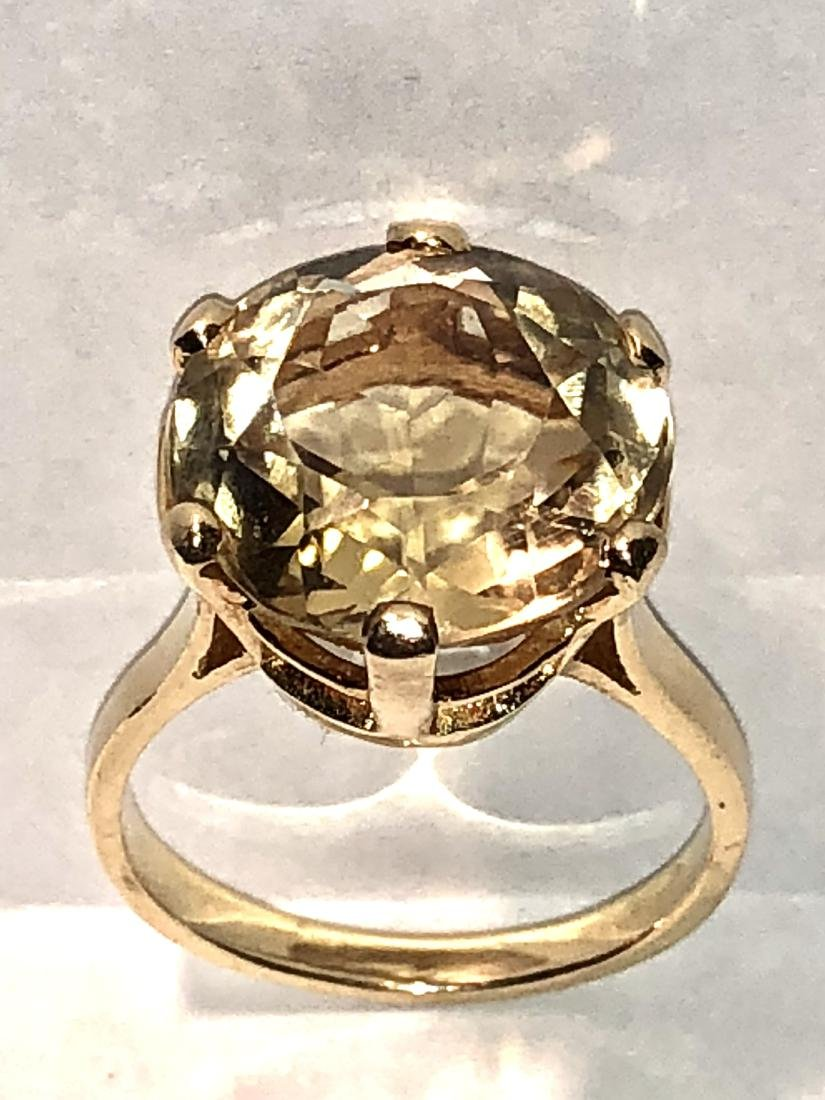 14K gold 11.0 CT oval natural citrine cocktail ring.