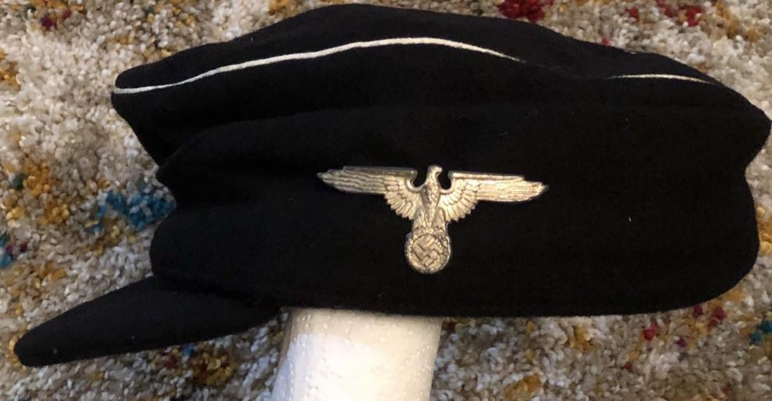 WW2 GERMAN SS PANZER CAP WITH SKULL. - 4