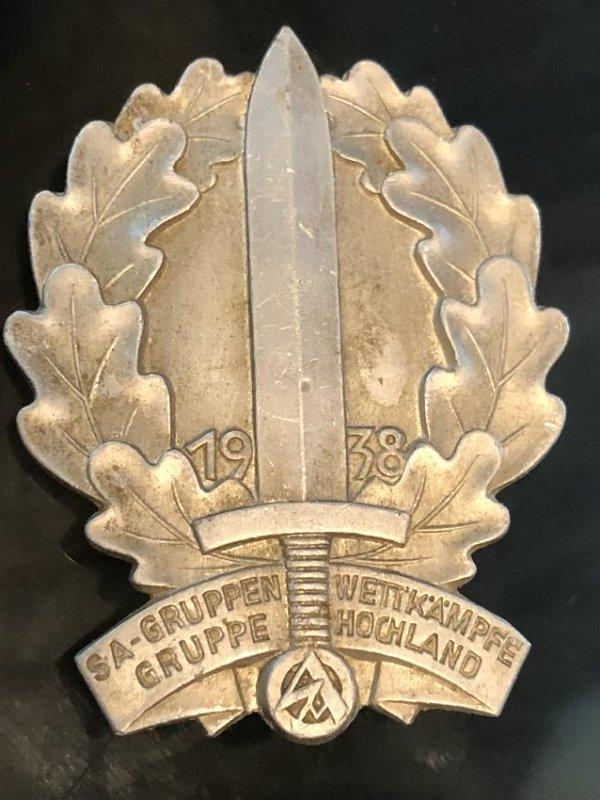 1938 GERMAN NAZI SA GRUPPEN WETTKAMPFE BADGE