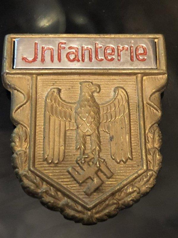 VERY RARE WW2 GERMAN NAZI INFANTERIE SHIELD PIN