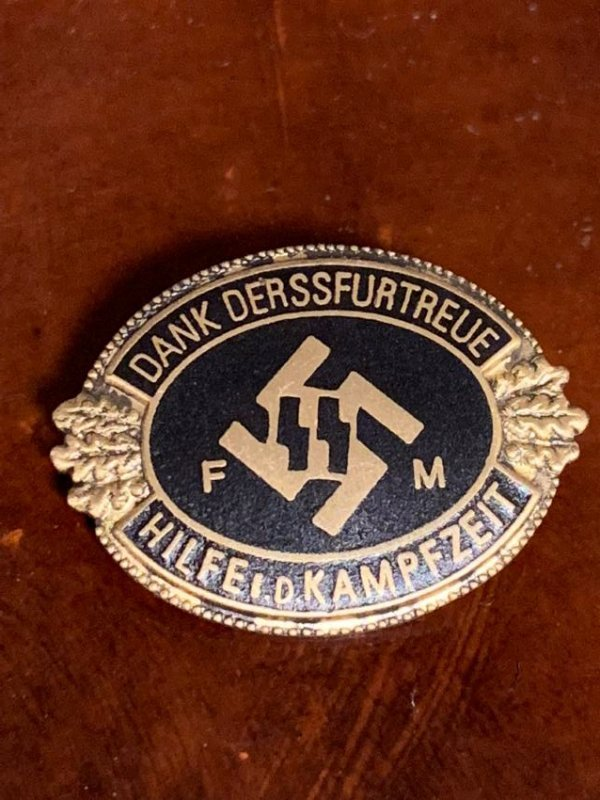 WW2 GERMAN SS-FM PATRON HONOURARY BADGE