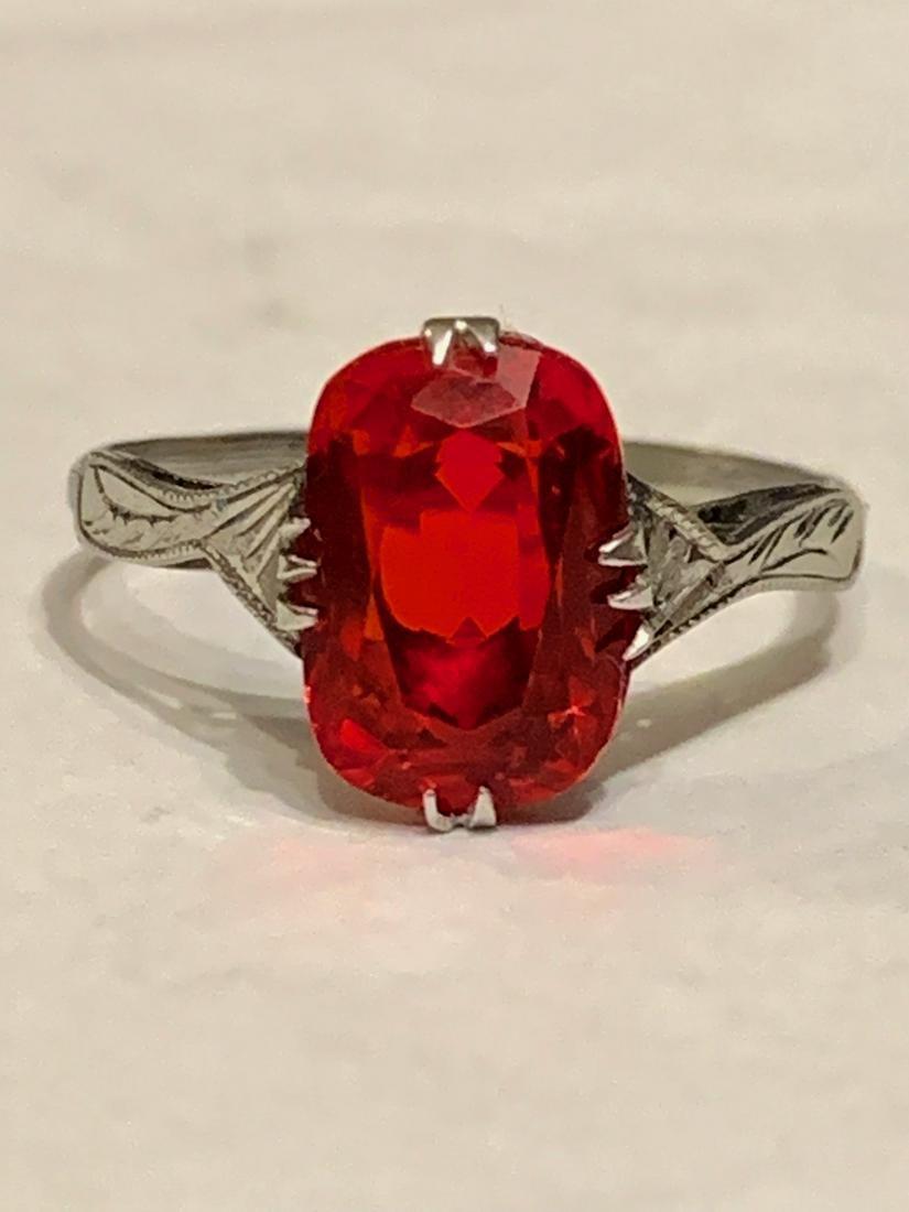 ANTIQUE 14K GOLD RED RUBY FILIGREE RING