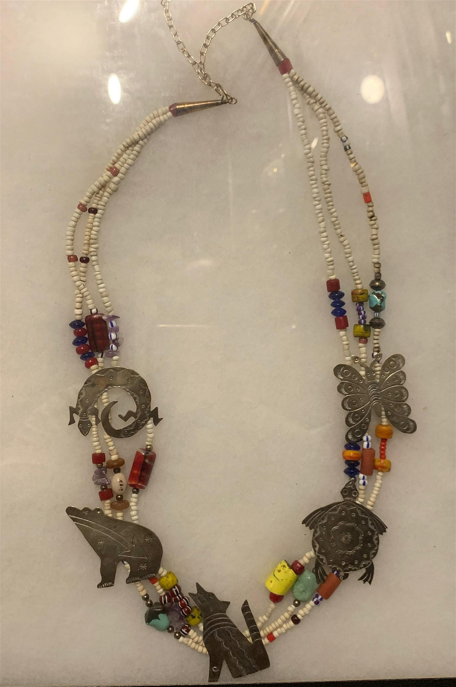 ANTIQUE NATIVE AMERICAN BEADED STERLING SILVER NECKLACE