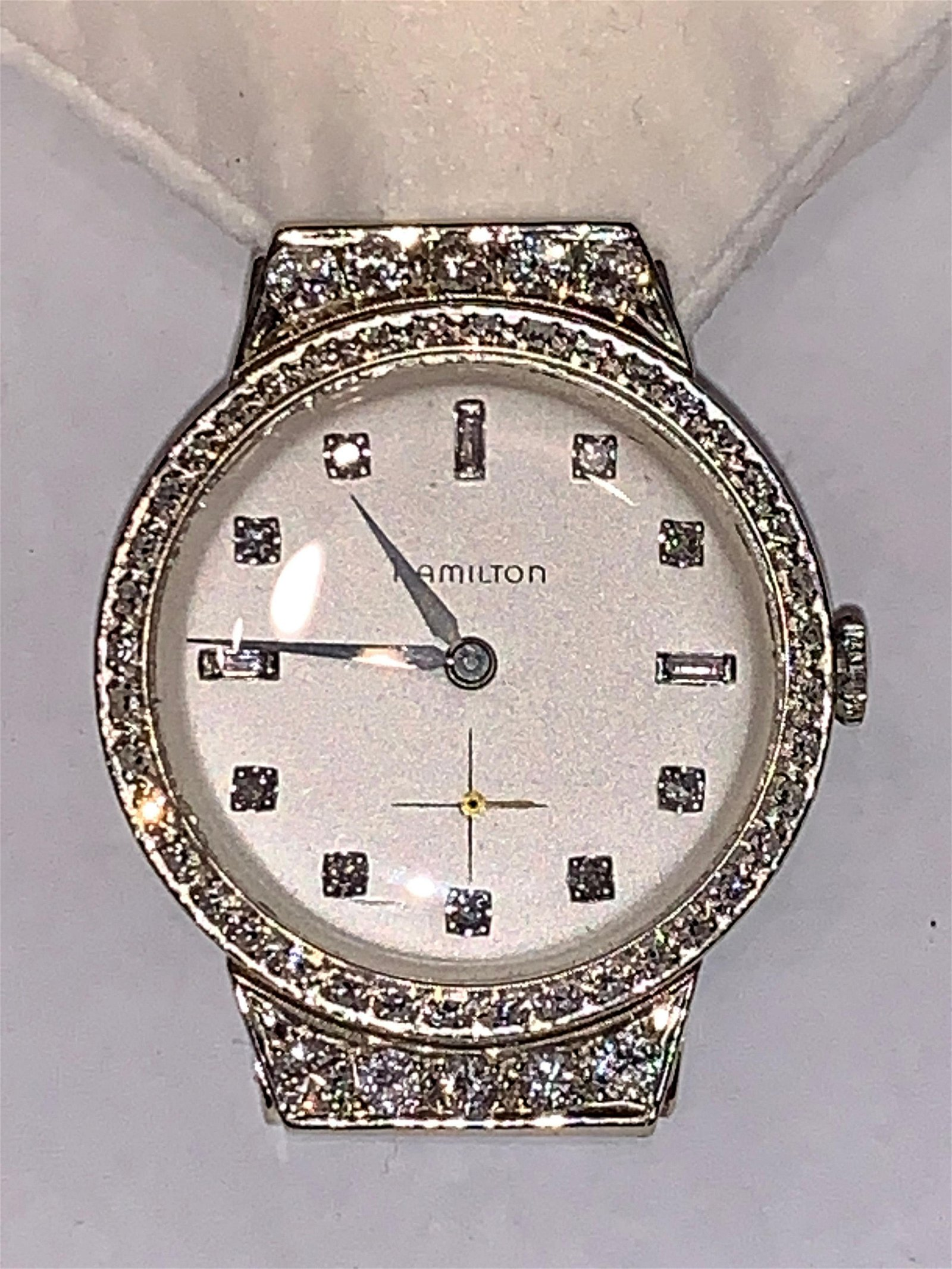 HAMILTON 14K GOLD 2.0 TCW DIAMONDS MENS WATCH