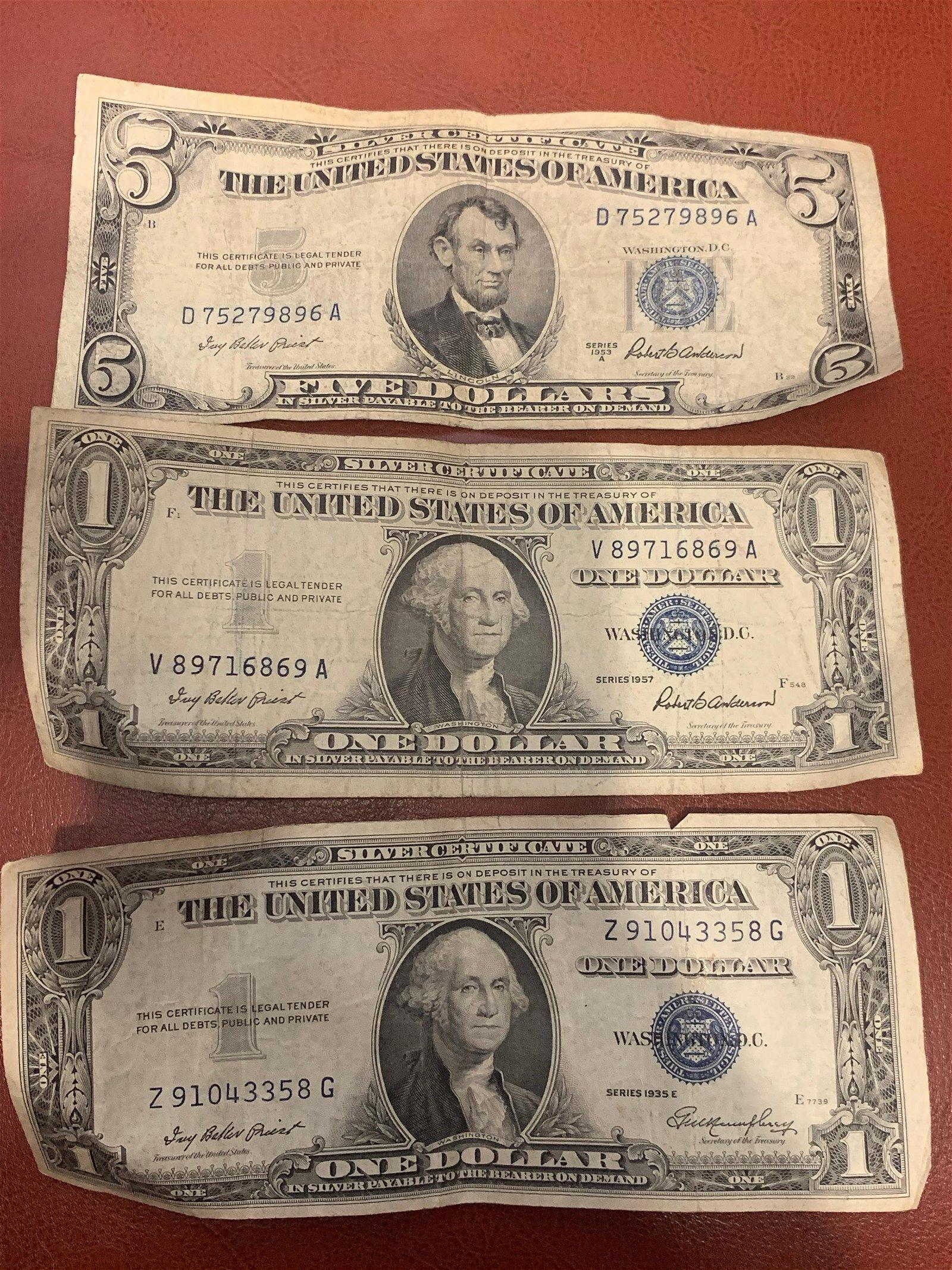 $7 FACE VALUE SILVER CERTIFICATE BILLS