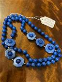 14K GOLD LAPIS LAZULI BEADED NECKLACE