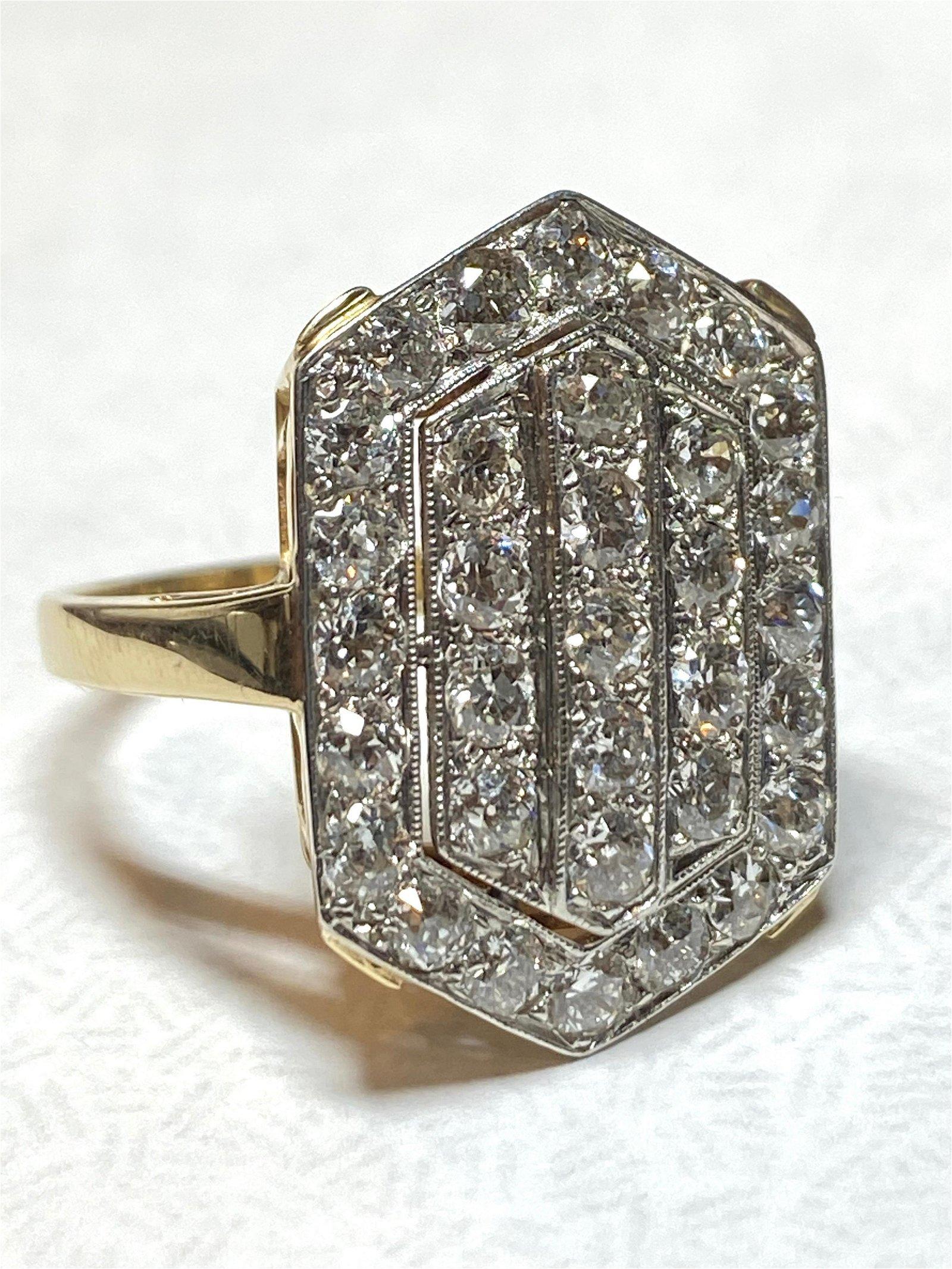 ART DECO 14K GOLD 2.50 TCW VS, G DIAMONDS COCKTAIL RING