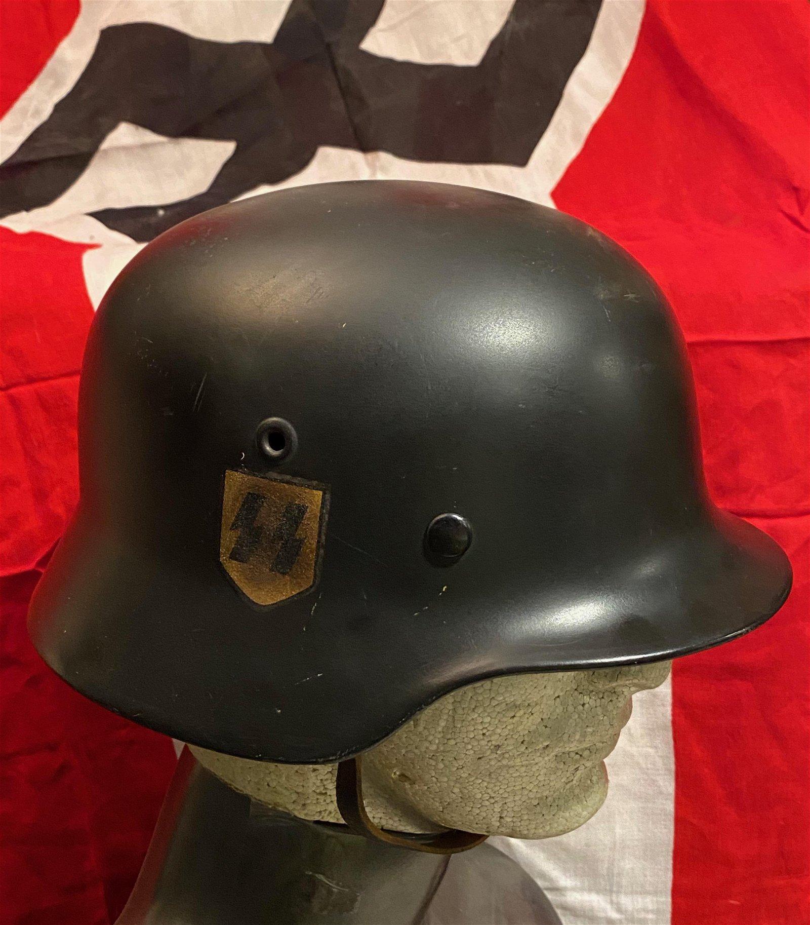 SCARCE WW2 GERMAN WAFFEN SS HELMET W/DOUBLE DECALS