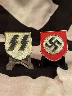 WW2 GERMAN NAZI SS PITH HELMET SHIELDS - F.P. 1942