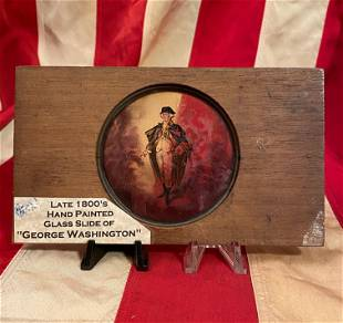 LATE 1800S HAND PAINTED GLASS SLIDE OF GEORGE