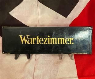 WW2 GERMAN NAZI WARTEZIMMER PLAQUE MARKED DRGM