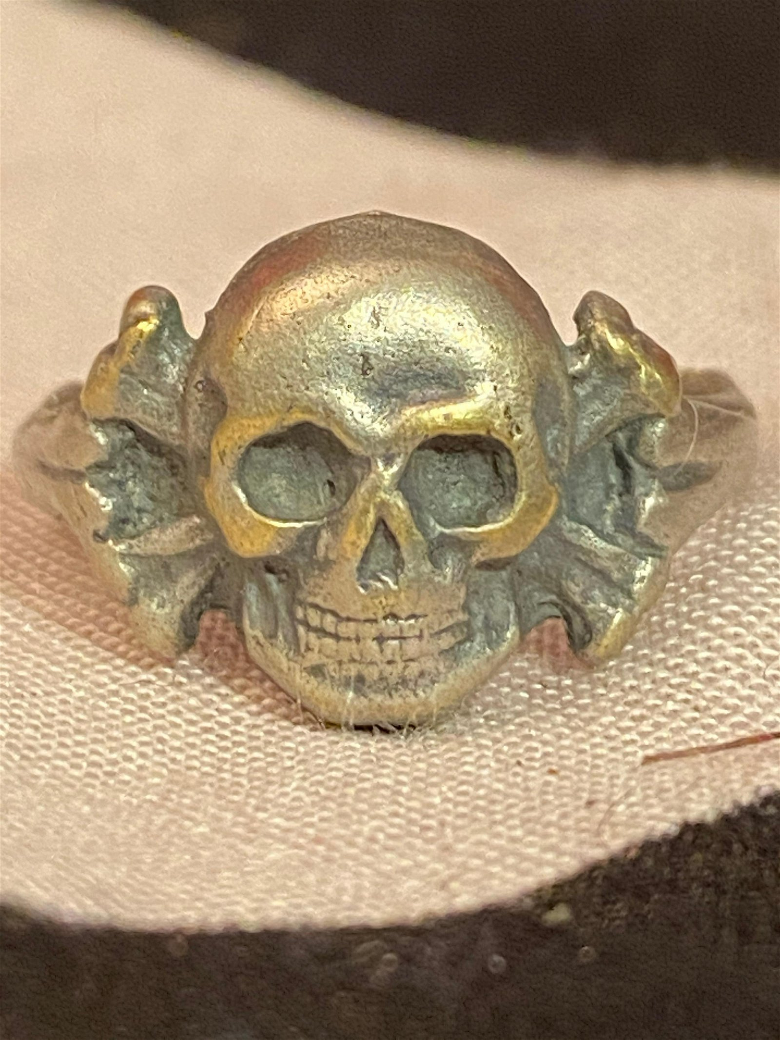 AUTH. WW2 GERMAN PANZER OFFICERS SKULL RING