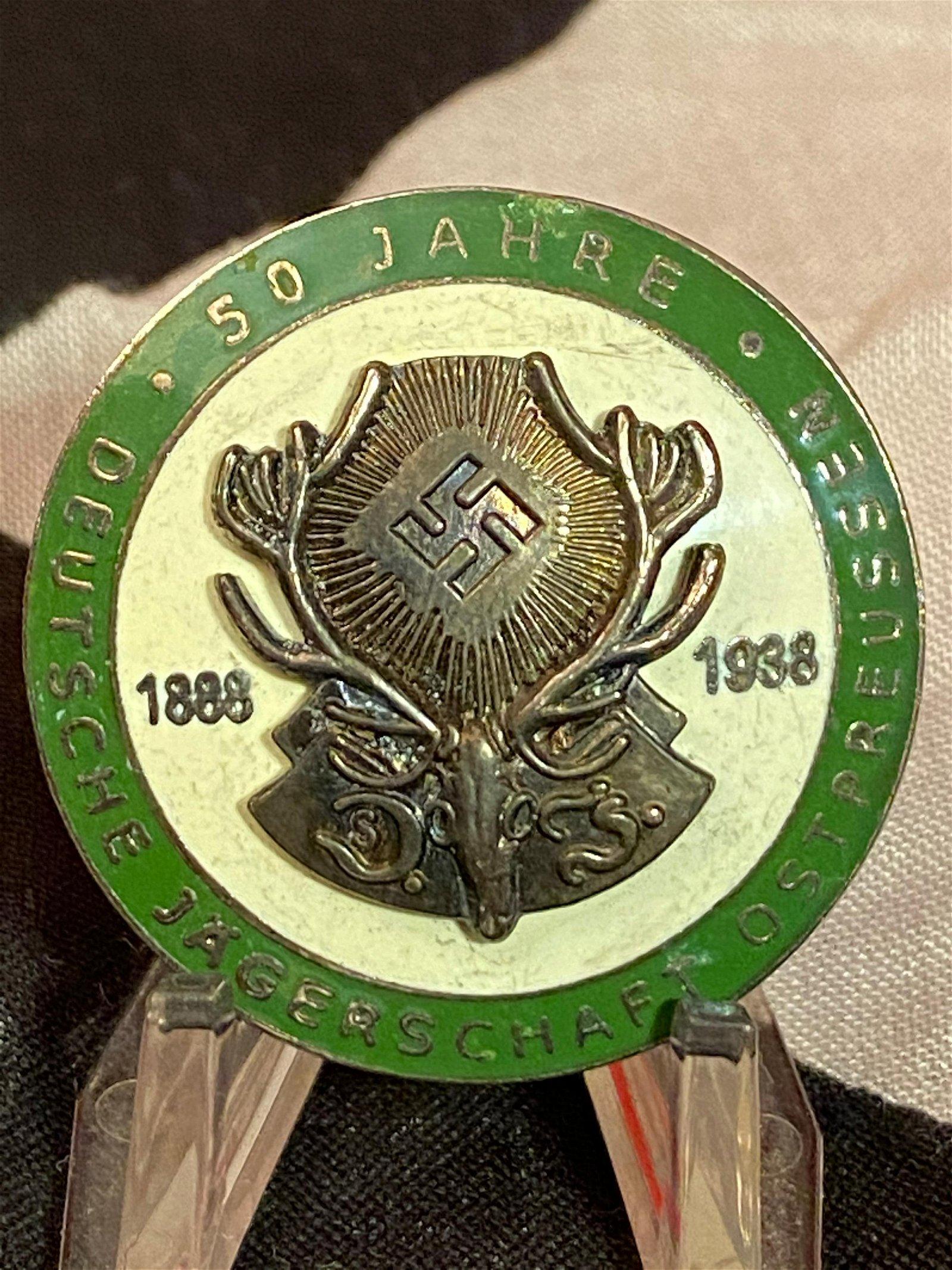 WW2 GERMAN DEUTSCHE JAGERSCHAFT 50 YR HUNTING BADGE
