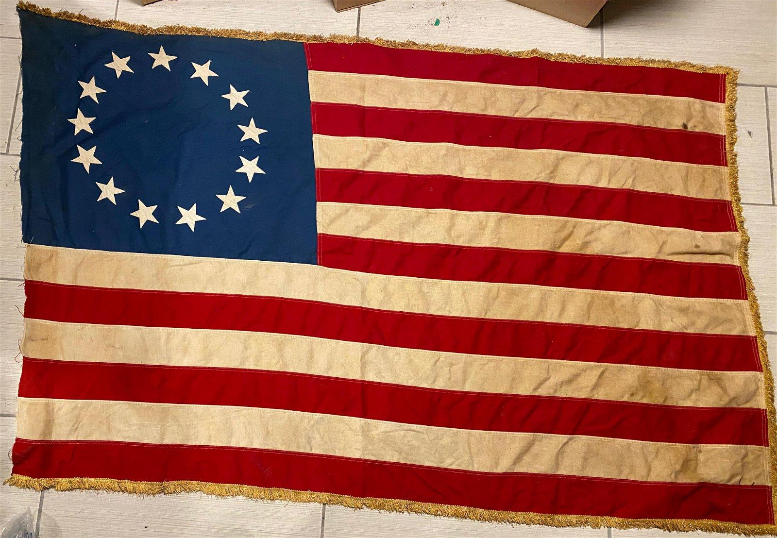 CIVIL WAR 13 STAR CONFEDERATE FLAG W/ GOLD BULLION