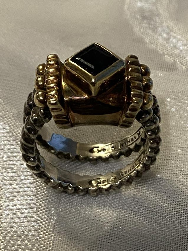 A. VAHAN 14K GOLD STERLING SILVER SAPPHIRE RING
