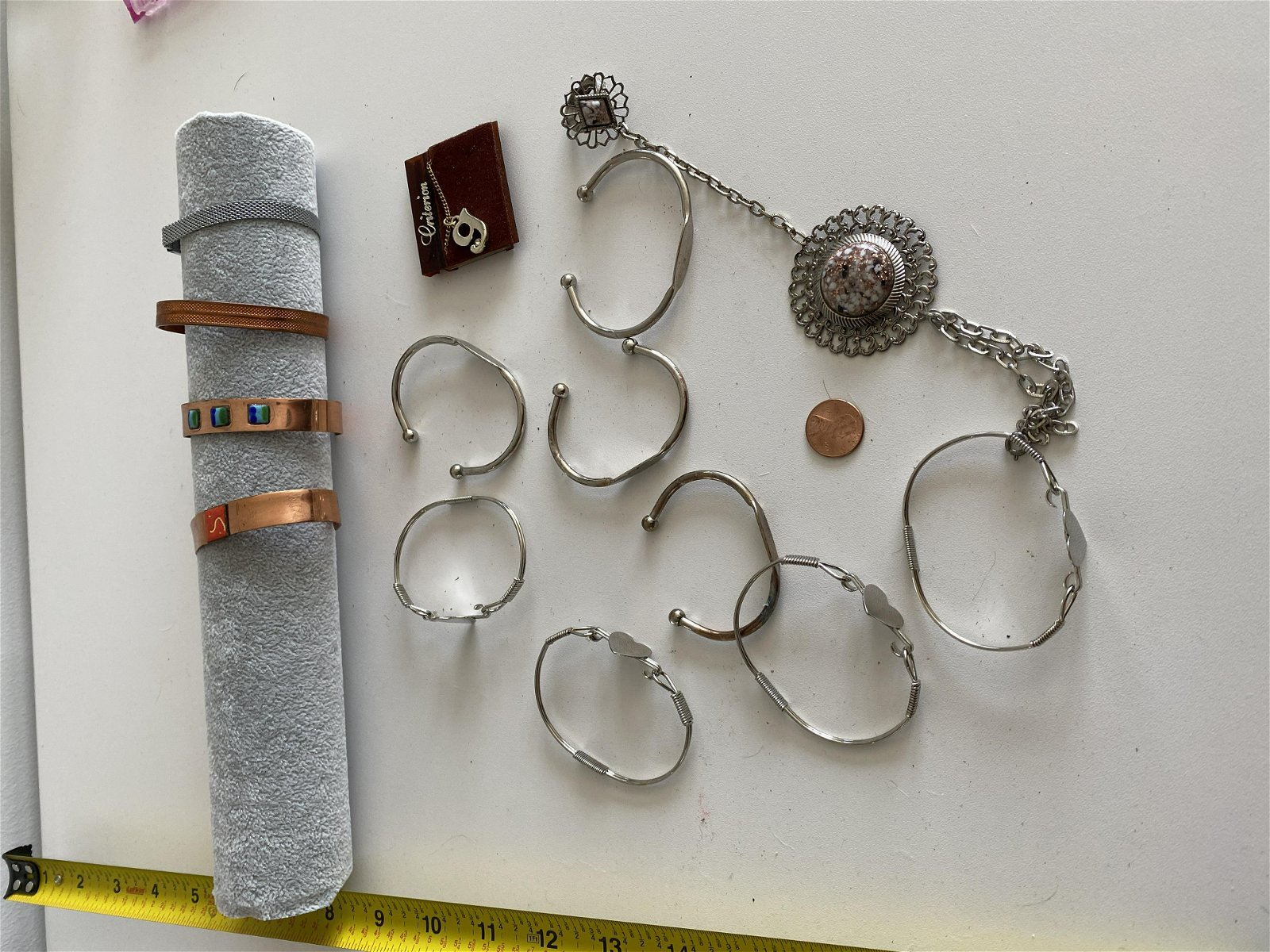 OLD LOT OF COPPER AND SILVER JEWELRY