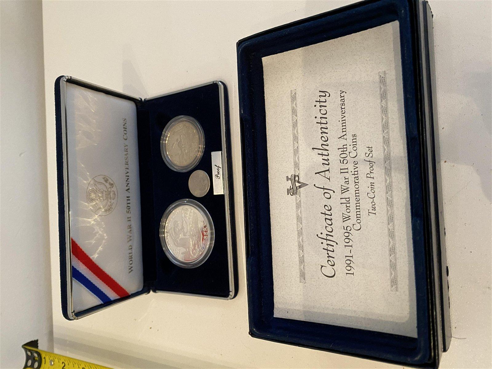 1991-1995 WW2 50TH ANNIV. 2 SILVER COIN PROOF SET