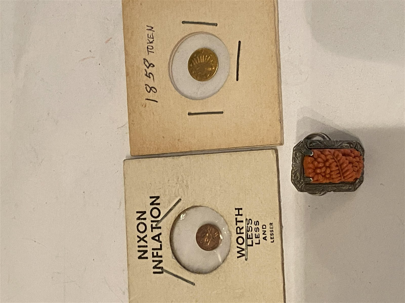 LOT OF (2) COINS - 1 GOLD & CORAL SILVER ART DECO RING