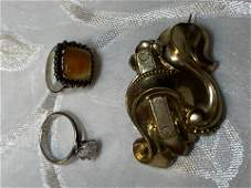 COLLECTION OF 3 GOLD AND SILVER JEWELRY